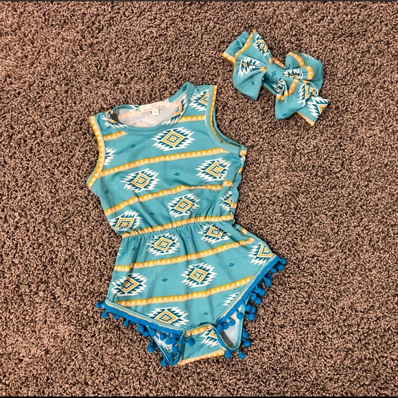 Bailey's Blossoms Other - Aztec and pompom romper 6-12 months